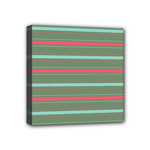 Horizontal Line Red Green Mini Canvas 4  X 4  by Mariart