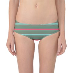 Horizontal Line Red Green Classic Bikini Bottoms by Mariart