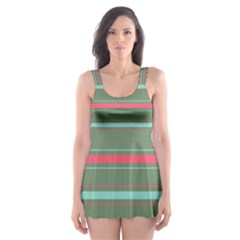 Horizontal Line Red Green Skater Dress Swimsuit by Mariart