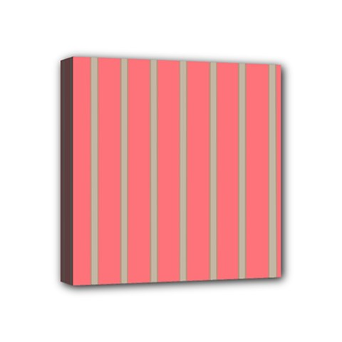 Line Red Grey Vertical Mini Canvas 4  X 4  by Mariart