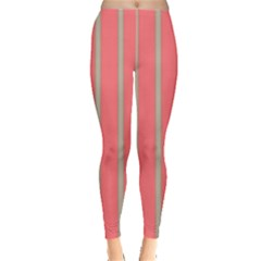 Line Red Grey Vertical Leggings  by Mariart