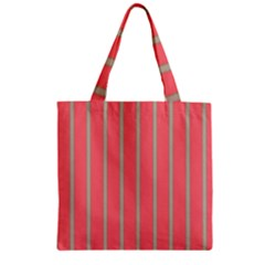 Line Red Grey Vertical Zipper Grocery Tote Bag by Mariart