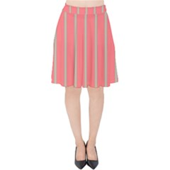 Line Red Grey Vertical Velvet High Waist Skirt by Mariart