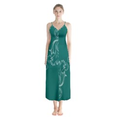 Leaf Green Blue Sexy Button Up Chiffon Maxi Dress by Mariart