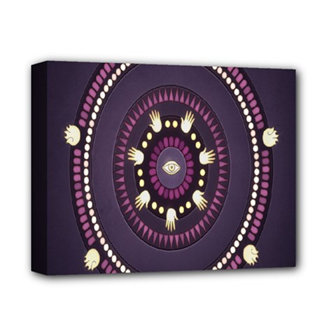 Mandalarium Hires Hand Eye Purple Deluxe Canvas 14  X 11  by Mariart