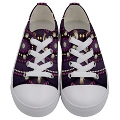 Mandalarium Hires Hand Eye Purple Kids  Low Top Canvas Sneakers