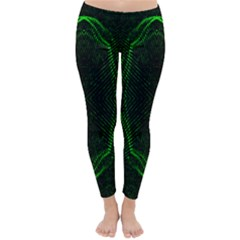 Green Foam Waves Polygon Animation Kaleida Motion Classic Winter Leggings by Mariart