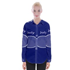 Moon July Blue Space Womens Long Sleeve Shirt by Mariart
