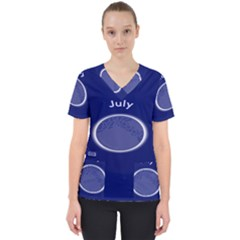 Moon July Blue Space Scrub Top by Mariart