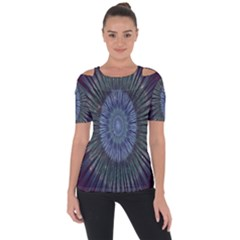 Peaceful Flower Formation Sparkling Space Short Sleeve Top