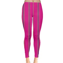 Pink Line Vertical Purple Yellow Fushia Leggings  by Mariart