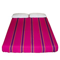 Pink Line Vertical Purple Yellow Fushia Fitted Sheet (queen Size) by Mariart