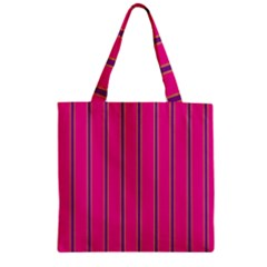 Pink Line Vertical Purple Yellow Fushia Zipper Grocery Tote Bag by Mariart