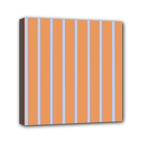 Rayures Bleu Orange Mini Canvas 6  X 6  by Mariart