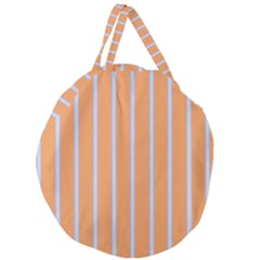 Rayures Bleu Orange Giant Round Zipper Tote