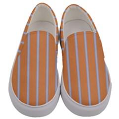Rayures Bleu Orange Men s Canvas Slip Ons