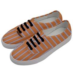 Rayures Bleu Orange Women s Classic Low Top Sneakers by Mariart