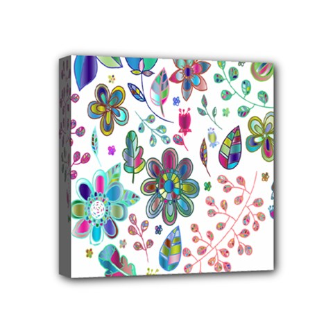 Prismatic Psychedelic Floral Heart Background Mini Canvas 4  X 4  by Mariart
