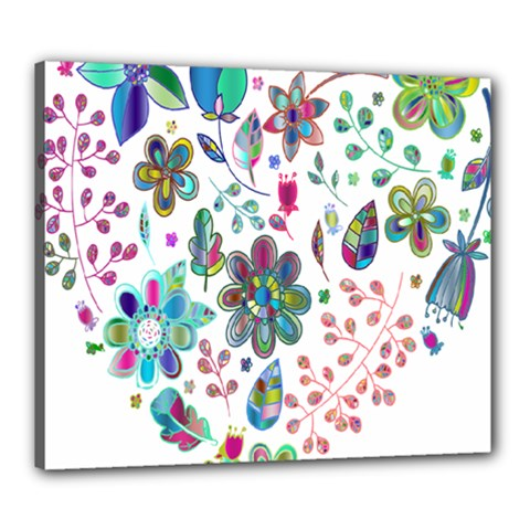 Prismatic Psychedelic Floral Heart Background Canvas 24  X 20  by Mariart