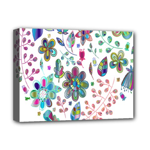 Prismatic Psychedelic Floral Heart Background Deluxe Canvas 16  X 12   by Mariart