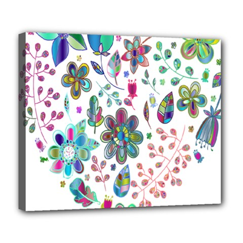 Prismatic Psychedelic Floral Heart Background Deluxe Canvas 24  X 20   by Mariart