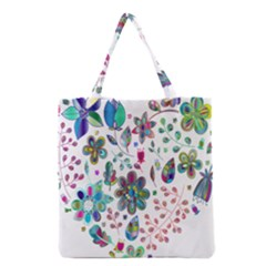 Prismatic Psychedelic Floral Heart Background Grocery Tote Bag by Mariart