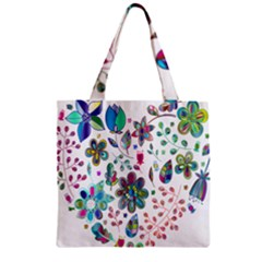 Prismatic Psychedelic Floral Heart Background Zipper Grocery Tote Bag by Mariart
