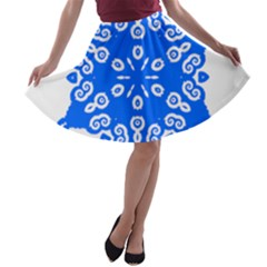 Snowflake Art Blue Cool Polka Dots A Line Skater Skirt by Mariart