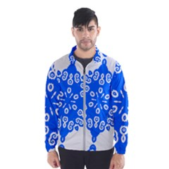 Snowflake Art Blue Cool Polka Dots Wind Breaker (men) by Mariart