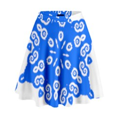 Snowflake Art Blue Cool Polka Dots High Waist Skirt by Mariart