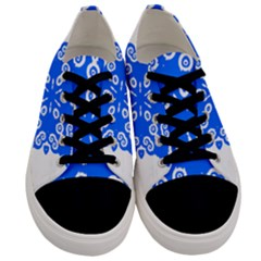 Snowflake Art Blue Cool Polka Dots Men s Low Top Canvas Sneakers
