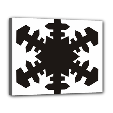 Snowflakes Black Canvas 14  X 11  by Mariart