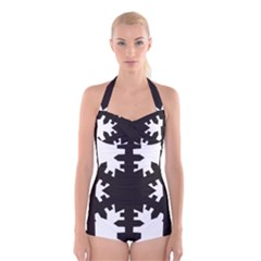 Snowflakes Black Boyleg Halter Swimsuit  by Mariart