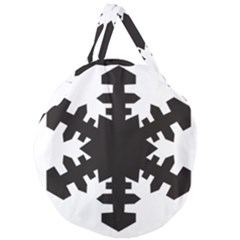 Snowflakes Black Giant Round Zipper Tote