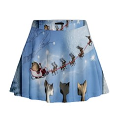 Christmas, Cute Cats Looking In The Sky To Santa Claus Mini Flare Skirt by FantasyWorld7