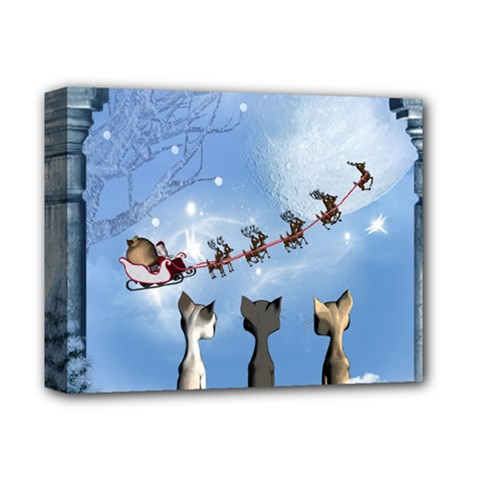 Christmas, Cute Cats Looking In The Sky To Santa Claus Deluxe Canvas 14  X 11  by FantasyWorld7