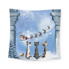 Christmas, Cute Cats Looking In The Sky To Santa Claus Square Tapestry (small) by FantasyWorld7