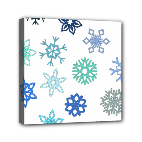 Snowflakes Blue Green Star Mini Canvas 6  X 6  by Mariart