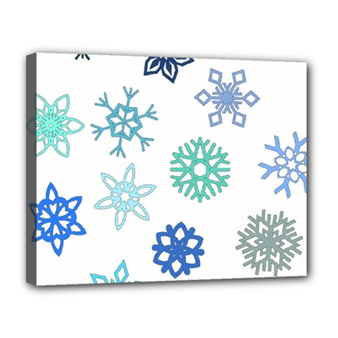 Snowflakes Blue Green Star Canvas 14  X 11  by Mariart