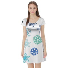 Snowflakes Blue Green Star Short Sleeve Skater Dress by Mariart
