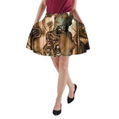 Steampunk, Steampunk Women With Clocks And Gears A Line Pocket Skirt by FantasyWorld7
