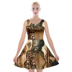 Steampunk, Steampunk Women With Clocks And Gears Velvet Skater Dress by FantasyWorld7