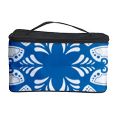 Snowflakes Blue Flower Cosmetic Storage Case by Mariart