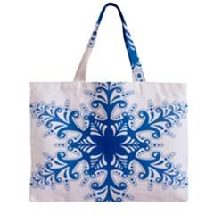 Snowflakes Blue Flower Zipper Mini Tote Bag by Mariart