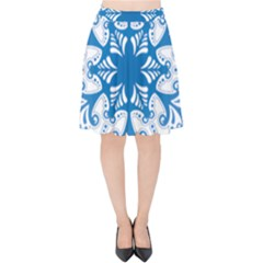 Snowflakes Blue Flower Velvet High Waist Skirt by Mariart