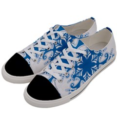 Snowflakes Blue Flower Women s Low Top Canvas Sneakers by Mariart