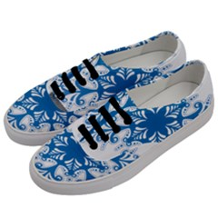 Snowflakes Blue Flower Men s Classic Low Top Sneakers by Mariart