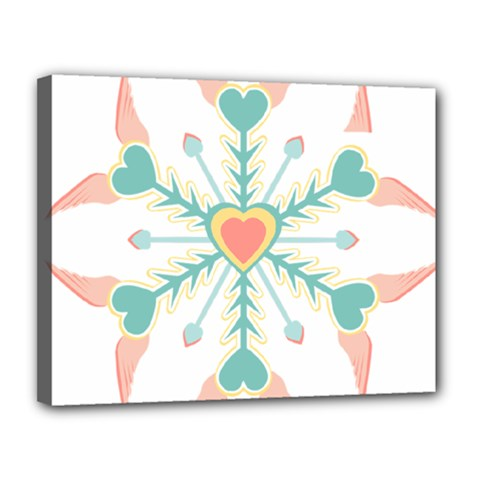 Snowflakes Heart Love Valentine Angle Pink Blue Sexy Canvas 14  X 11  by Mariart