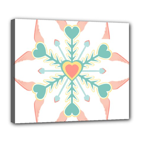 Snowflakes Heart Love Valentine Angle Pink Blue Sexy Deluxe Canvas 24  X 20   by Mariart