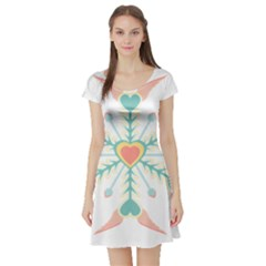 Snowflakes Heart Love Valentine Angle Pink Blue Sexy Short Sleeve Skater Dress by Mariart